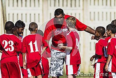 Junior Soccer Team Coach Editorial Stock Photo