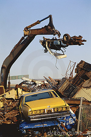 Junk cars at wrecking yard