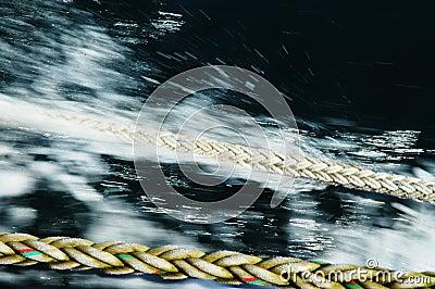 Junk, hawser with blurry background