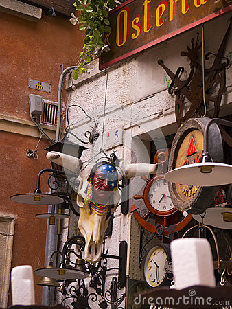 Junk shop at Malcesine on Lake Garda in Northern Italy Editorial Photography