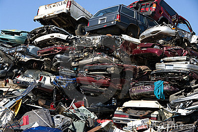 Junkyard flattened cars