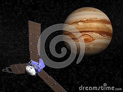 Juno spacecraft near Jupiter - 3D render