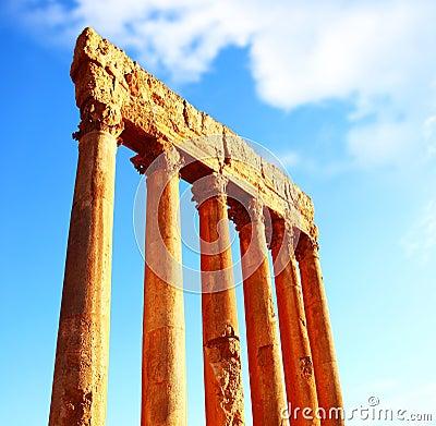 Jupiter s temple columns over blue sky