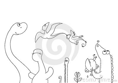 Jurassic friends bw