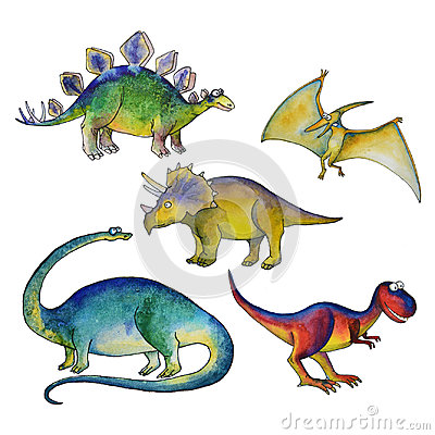 Jurassic period dinosaurs set watercolor style Cartoon Illustration