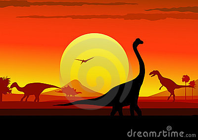 Jurassic sunset background