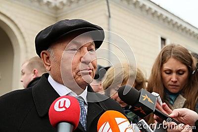 Jury Luzhkov near metro station Park Kultury Editorial Stock Photo