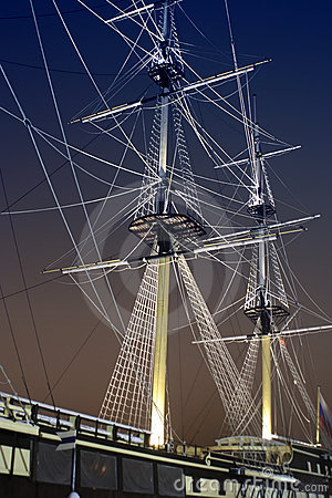 Jury-masts and rope of sailing ship in the dark
