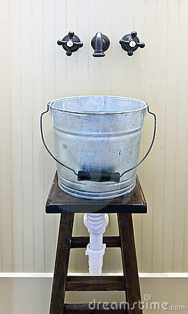 Jury rigged bucket sink