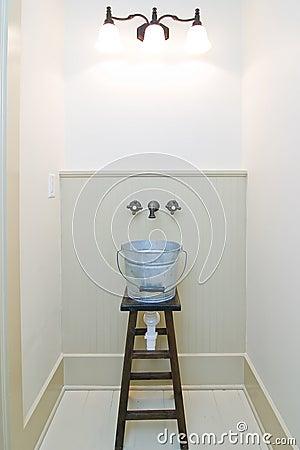 Jury rigged bucket sink