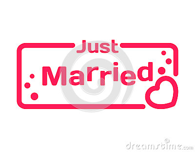 Just Married Badge With Heart Icon On White Background Wedding