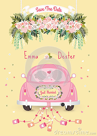 Free Just Married Car With Save The Date Wedding Invitation Card Stock Photo - 75740630
