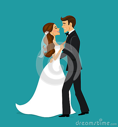 Just married couple bride and groom dancing Stock Photo