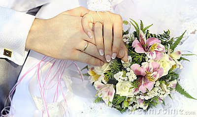 Just married couple hands