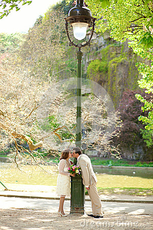 Just married couple by lantern