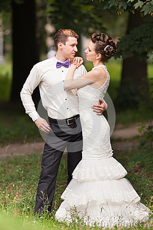 Just married couple  in the park