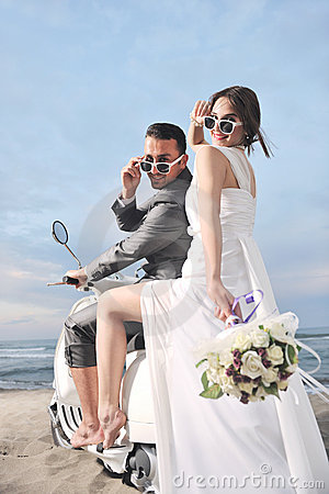 Free Just Married Couple Ride White Scooter Stock Photos - 19861213