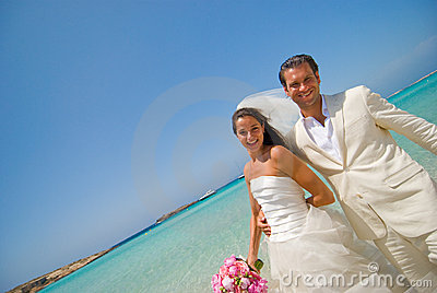 Just Married on Honeymoon Island Beach