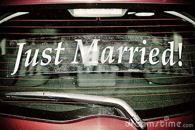 Just Married on Red Car