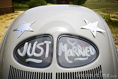 Just Married Written on Car