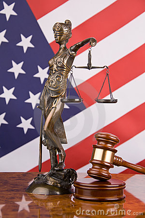 Justice and american flag