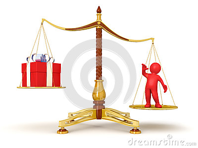 Justice Balance  with gift and man (clipping path included)