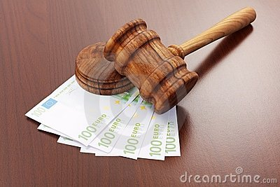 Justice gavel on euro banknotes