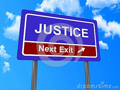 Justice next exit sign