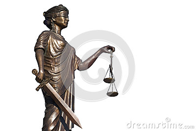 Justice statue on white background