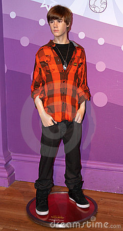 Justin Bieber at Madame Tussaud s Editorial Stock Image