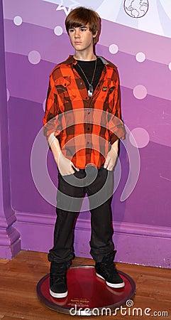 Justin Bieber at Madame Tussaud s Editorial Stock Image