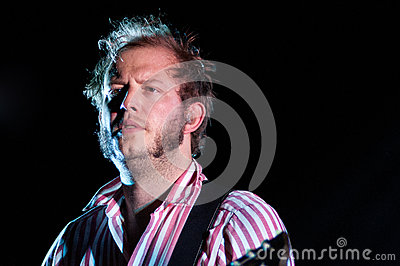 Justin Vernon, lead singer of Bon Iver band, performs at Barcelona Editorial Stock Image
