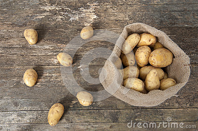Jute bag with potatoes