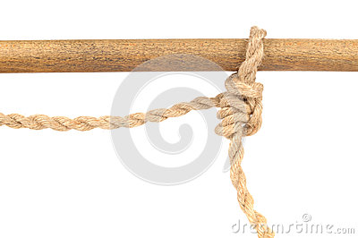 Jute Rope with Adjustable Grip Hitch Knot on White