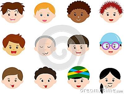 Köpfe der Jungen, Männer, Kinder (Mann) unterschiedliches ethnics