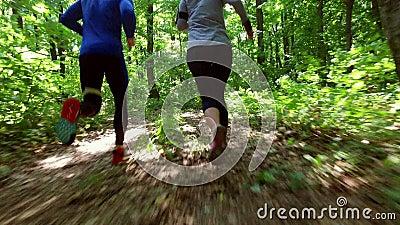 Körande jogga i skogkvinnautbildning, spring som joggar, kondition, runner--4kvideo
