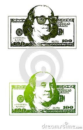 Kühler Ben Franklin 100 Dollarscheine