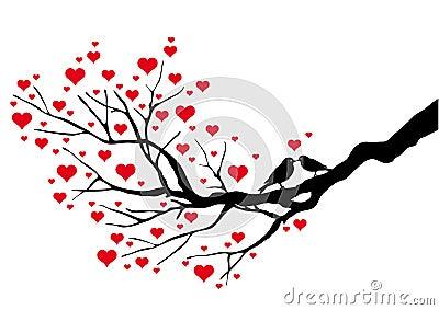 Vögel die auf einem innerbaum hintergrund küssen