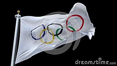 4k与挥动在风的旗杆的奥林匹克旗子 充分地数字式翻译,仅社论用途 无缝的圈高度详细的织品tex 影视素材