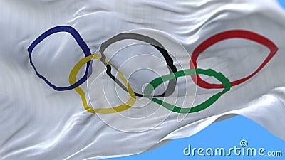 4k无缝的关闭奥林匹克旗子缓慢挥动在风 包括的阿尔法通道 股票录像