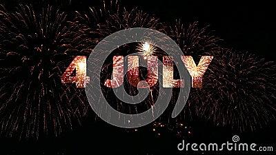 4K 7月4日美国独立日庆典烟花炮,真金色烟花节环 股票视频