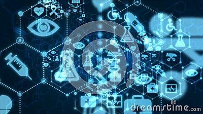4K abstraem passagem movente da animação do fundo através da linha do ponto e da conexão com ícone médico e da saúde para o cyber ilustração stock