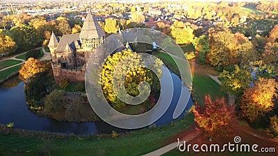 4k aerial drone video of castle Linn in Krefeld, Germany.  stock video footage