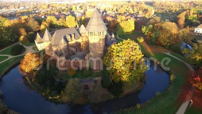 4k aerial drone video of castle Linn in Krefeld, Germany.  stock footage