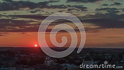 4K Aerolapse  aerial timelapse / hyperlapse  of the scenic city skyline view sunshine of the sunset in Lviv.  stock video footage
