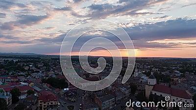 4K Aerolapse  aerial timelapse / hyperlapse  of the scenic city skyline view sunshine of the sunset in Lviv.  stock footage