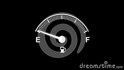 4K animaci samochodu paliwa deski rozdzielczej chodzenie w górę i na dół wałkowego igły paliwa folował i opróżnia ilustracji