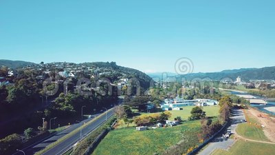 4K antenna, Wellington Suburbs Flyover stock footage