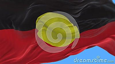 4k AUSTRLIA土人原史旗子缓慢挥动在风 阿尔法通道 股票录像
