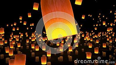 4k beau, lanternes volant en ciel nocturne